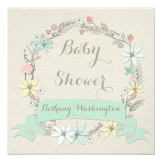 Classy Floral Wreath and Banner Baby Shower Card