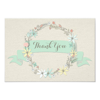Classy Floral Wreath Banner Thank You Wedding Card