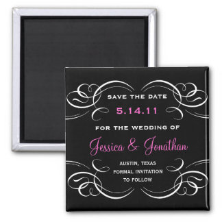 Classy Flourish Save the Date Magnet (black & pink