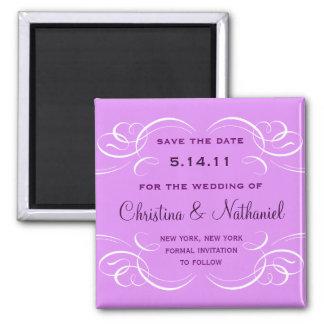 Classy Flourish Save the Date Magnet (purple)