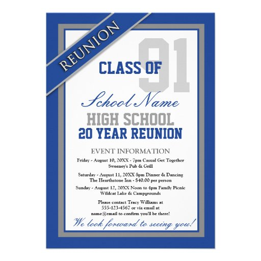 Classy Formal High School Reunion Announcements