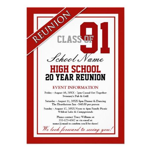 Classy Formal High School Reunion Custom Invites