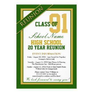 Classy Formal High School Reunion Custom Announcements