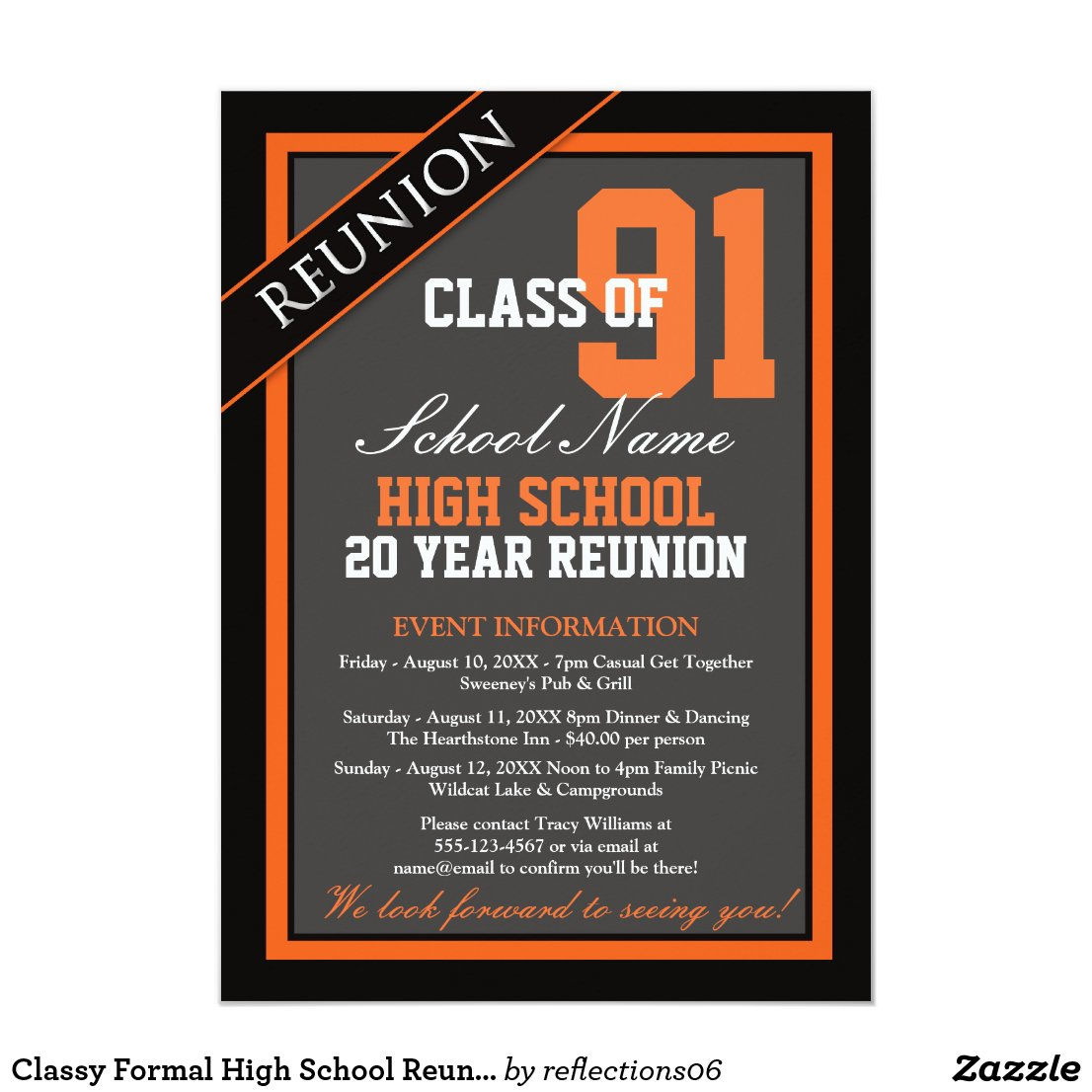 Classy Formal High School Reunion Invitation