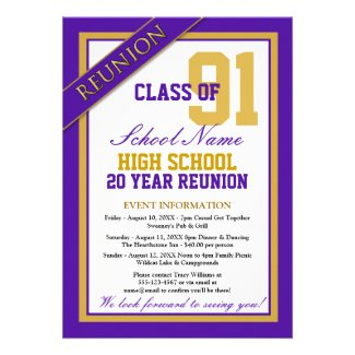 Classy Formal High School Reunion Personalized Announcements
