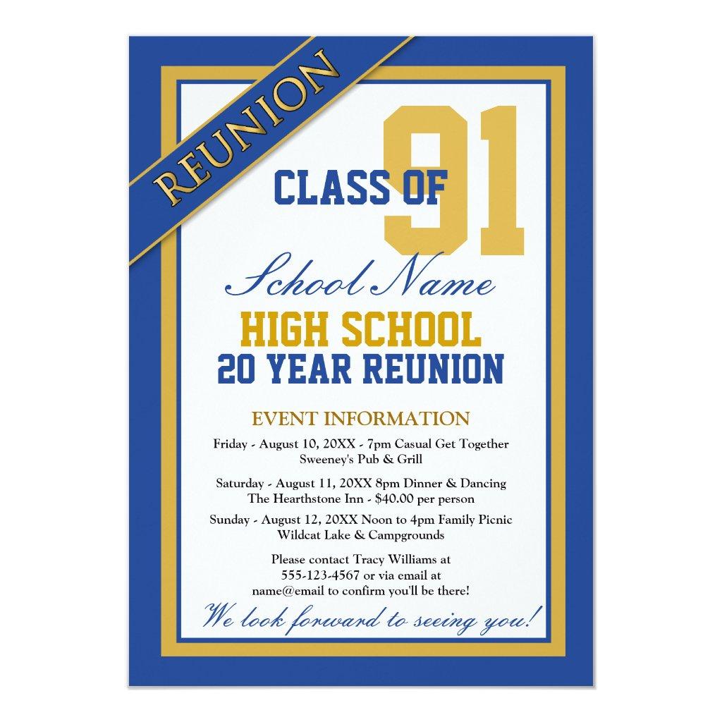 Classy Formal High School Reunion Invitations