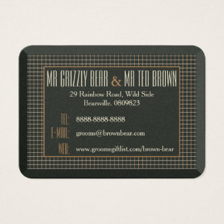 Classy Framed Bear Contact Card for Gay Grooms