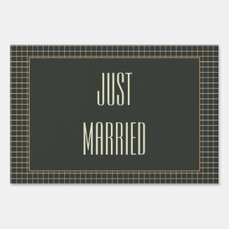 Classy Framed Bear Grooms Just Married Yard Sign