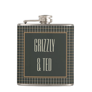 Classy Framed Bear Wedding: Gift for gay grooms Hip Flask