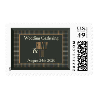 Classy Framed Bear Wedding Postage for Gay Grooms