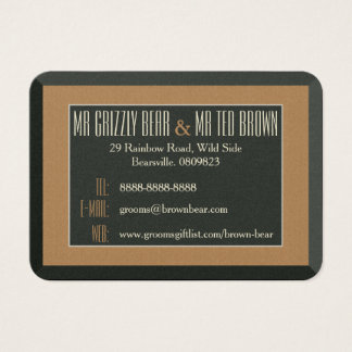 Classy Framed Brown Bear Contact Card Gay Grooms