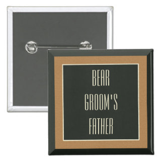 Classy Framed Brown Bear Gay Groom's Father Badge Button