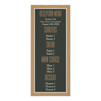 Classy Framed Brown Bear Pride Gay Wedding Menu 4x9.25 Paper Invitation Card