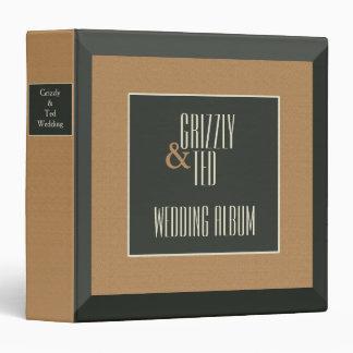 Classy Framed Gay Wedding Album: Brown Bear Grooms 3 Ring Binder