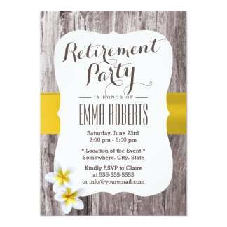 Classy Frangipani Wood Background Retirement Party 5x7 Paper Invitation Card