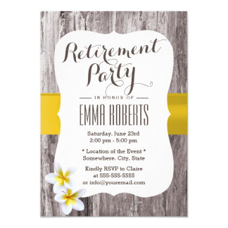 Classy Frangipani Wood Background Retirement Party Card