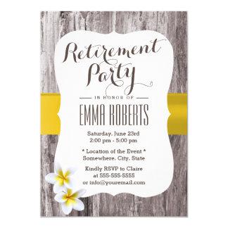 Classy Frangipani Wood Background Retirement Party Card