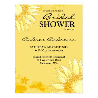 Classy & Fun Sunflower Yellow Bridal Shower Invite Postcard