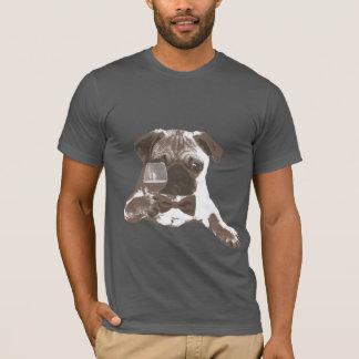 Classy Gentleman Pug Drinking Wine T-shirt