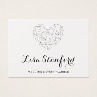 Classy geometric heart gold business card