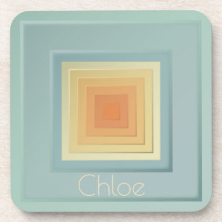 Classy Geometric Squares (light blue & yellow) Drink Coaster