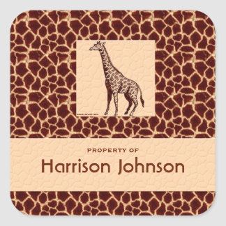 Classy Giraffe Print with Property Text Square Sticker