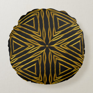 Gold Round Throw Pillow : Black And Gold Round Pillows Zazzle