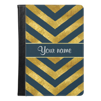 Classy Gold and Navy Blue Chevrons