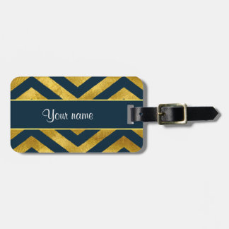 Classy Gold and Navy Blue Chevrons Bag Tag