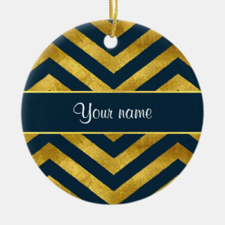 Classy Gold and Navy Blue Chevrons Ceramic Ornament