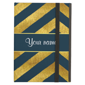 Classy Gold and Navy Blue Chevrons iPad Air Cover