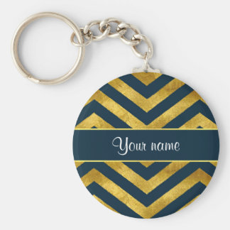 Classy Gold and Navy Blue Chevrons Keychain