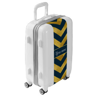 Classy Gold and Navy Blue Chevrons Luggage