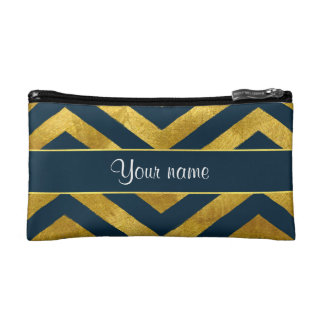 Classy Gold and Navy Blue Chevrons Makeup Bag