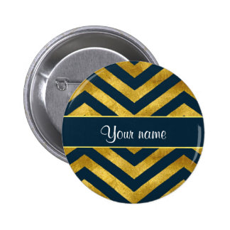 Classy Gold and Navy Blue Chevrons Pinback Button