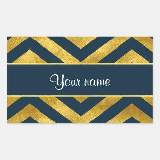 Classy Gold and Navy Blue Chevrons Rectangular Sticker