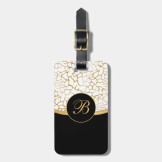Classy Gold and White Animal Print | Personalize Luggage Tag