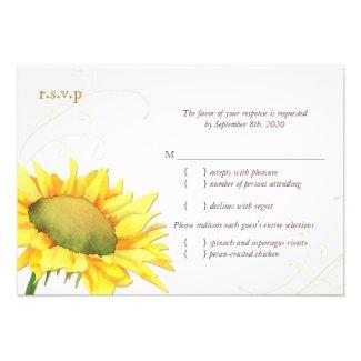 Classy Gold Autumn Sunflower Wedding RSVP (3.5x5) Custom Announcement