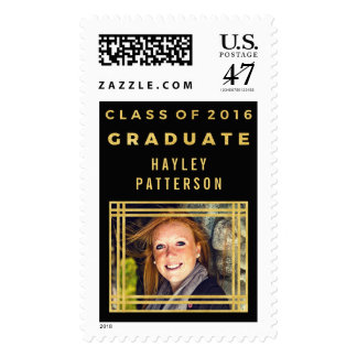 Classy Gold Black Class of 2016 Graduation Photo Stamp