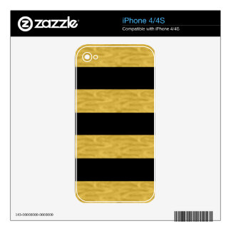 Classy Gold & Black Stripe Decals For iPhone 4S