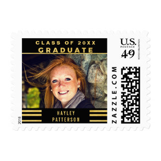 Classy Gold Black Stripes 2016 Graduation Photo Postage Stamp