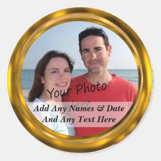 Classy Gold Border Custom Photo & Text Stickers