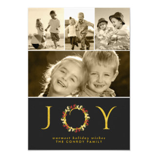 Classy Gold Christmas Joy Instagram Photo Collage Card