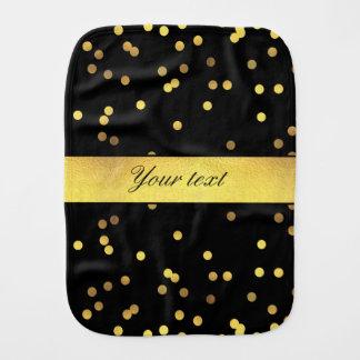 Classy Gold Confetti Black Baby Burp Cloth