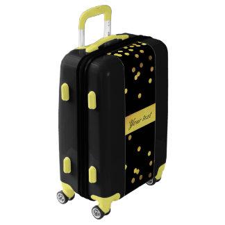 Classy Gold Confetti Black Luggage