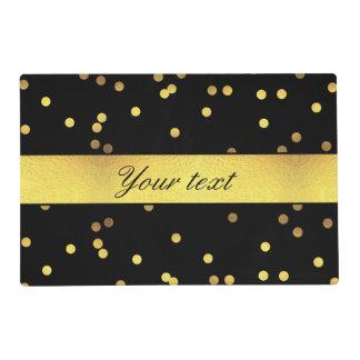 Classy Gold Confetti Black Placemat