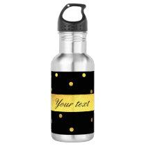 Classy Gold Confetti Black Water Bottle