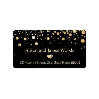 Classy Gold Confetti Dots Black Wedding Decor Label