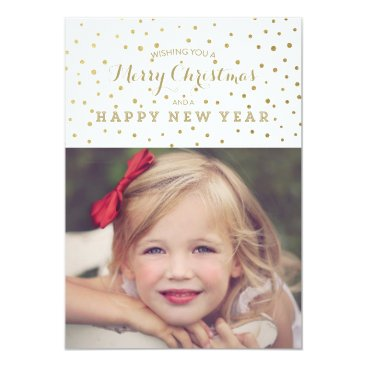 Christmas Themed Classy Gold Dots Merry Christmas Photo Card