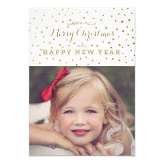 "Classy Gold Dots Merry Christmas Photo Card 5"" X 7"" Invitation Card"